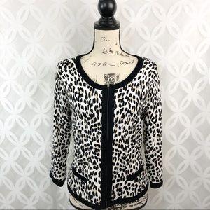 White House Black Market Leopard ZIP Cardigan